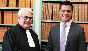 law student and judge in library